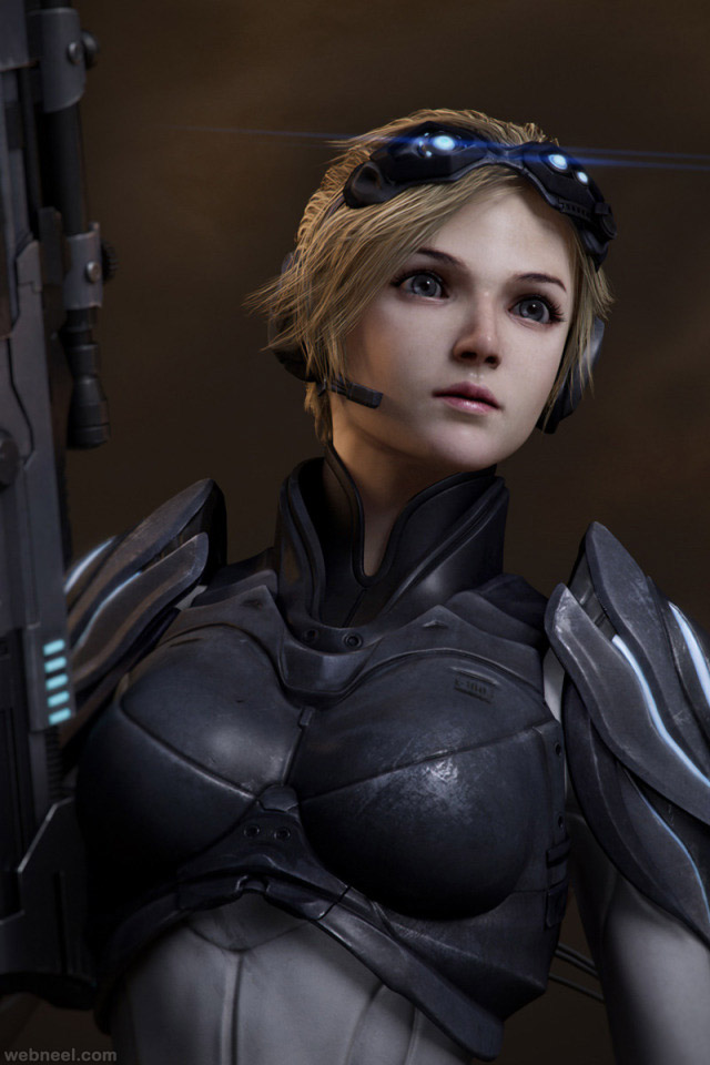 3d game female fighter character