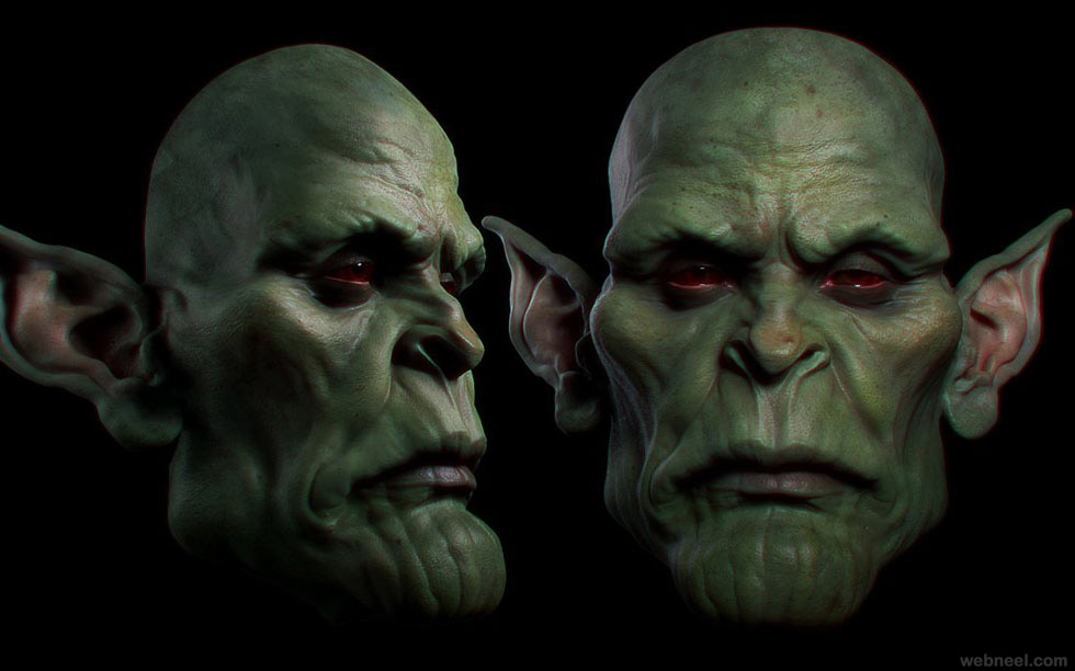 monster zbrush model by rodrigue pralier