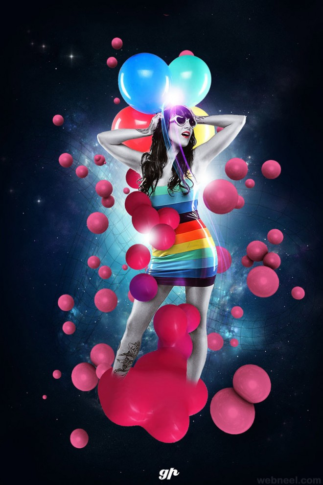 photo effect girl party color