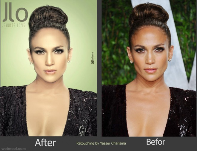 jennfer lopez photo retouching after before