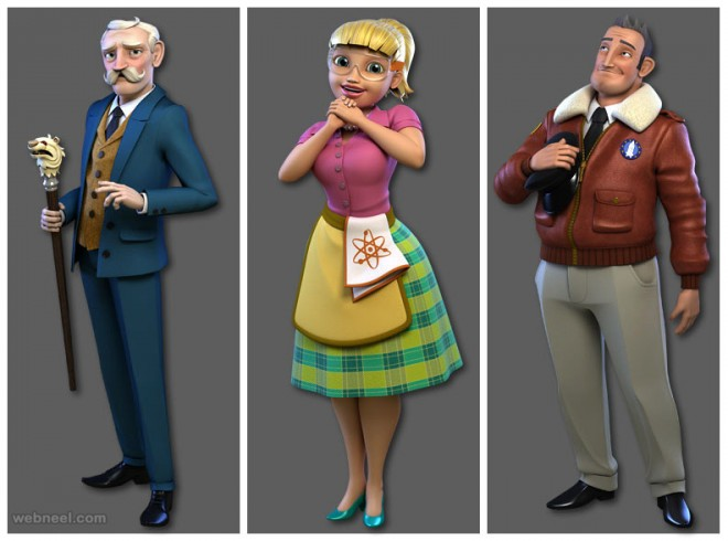 beautiful 3d cartoon character by andrew
