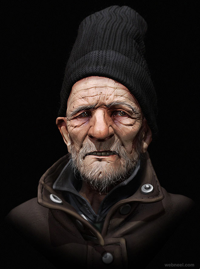 homless man game character zbrush by samuel
