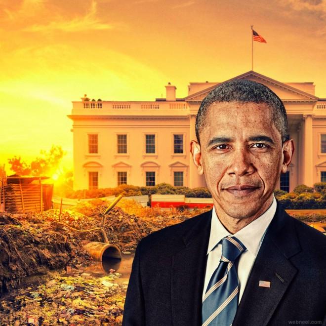 obama retouching by photoshop