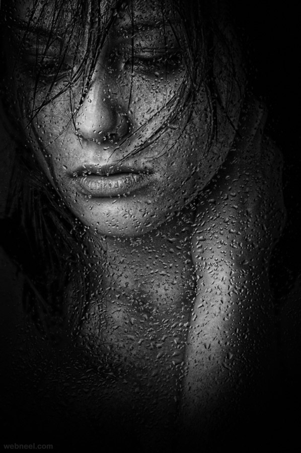 rain drops bw photography