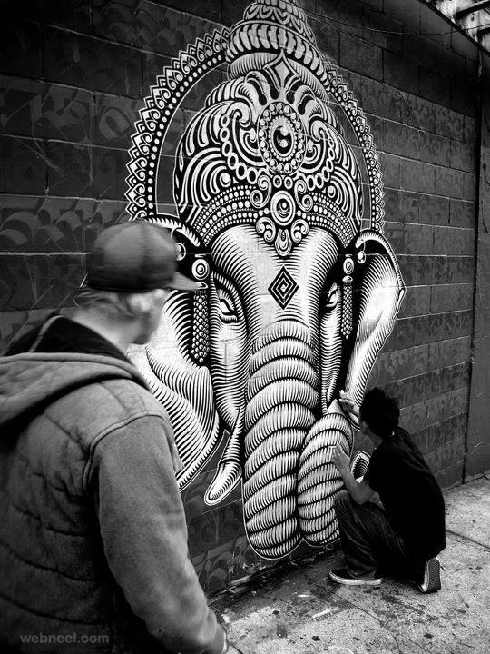 wall graffiti ganesh hindu god