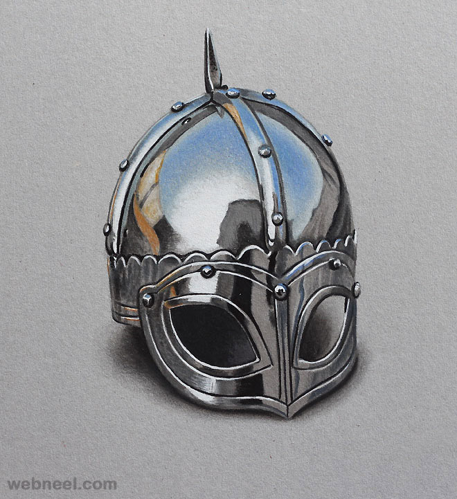 colored pencil drawings helmet