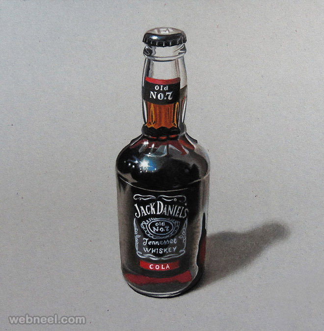 colored pencil drawings bottle