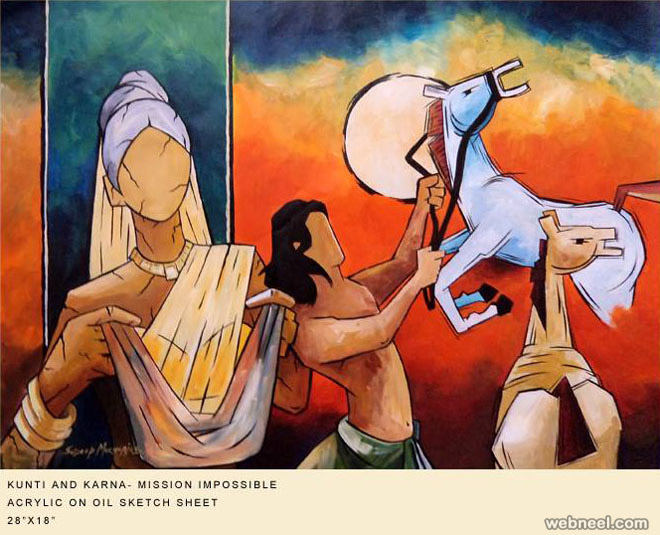 mahabharatham indian paintings by mukherjee