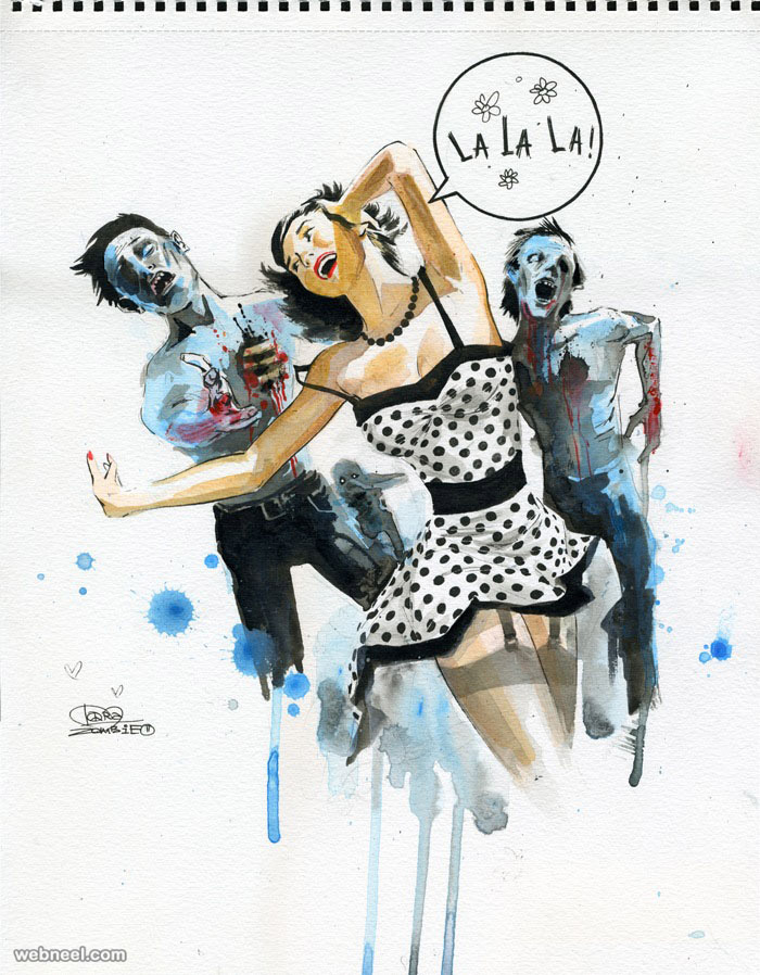 watercolor painting by lora zombie