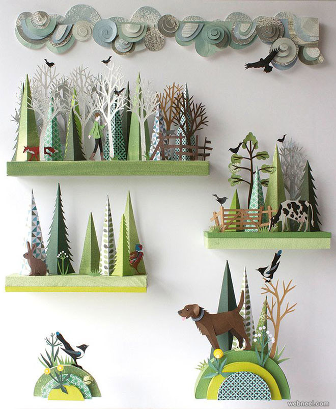 paper sculpture trees