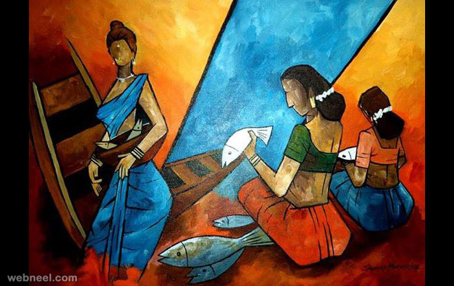 fishseller indian paintings by mukherjee