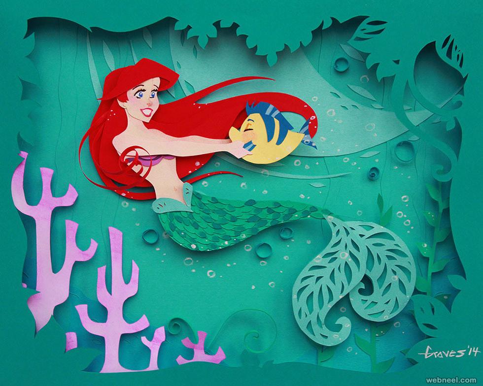 paper sculpture mermaid