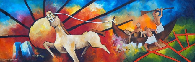horse indian paintings by mukherjee