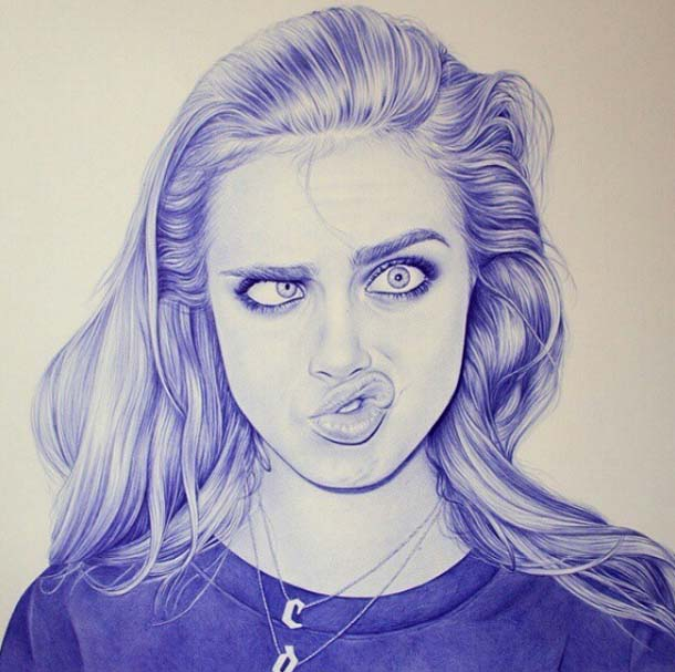 girl pen drawing by eva garrido