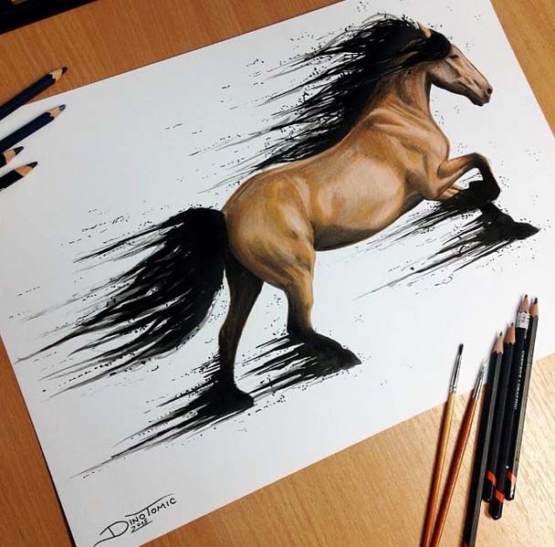 horse drawing by dino tomic