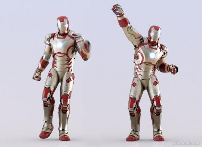 marvel iron 3d modelling by robert kuczera
