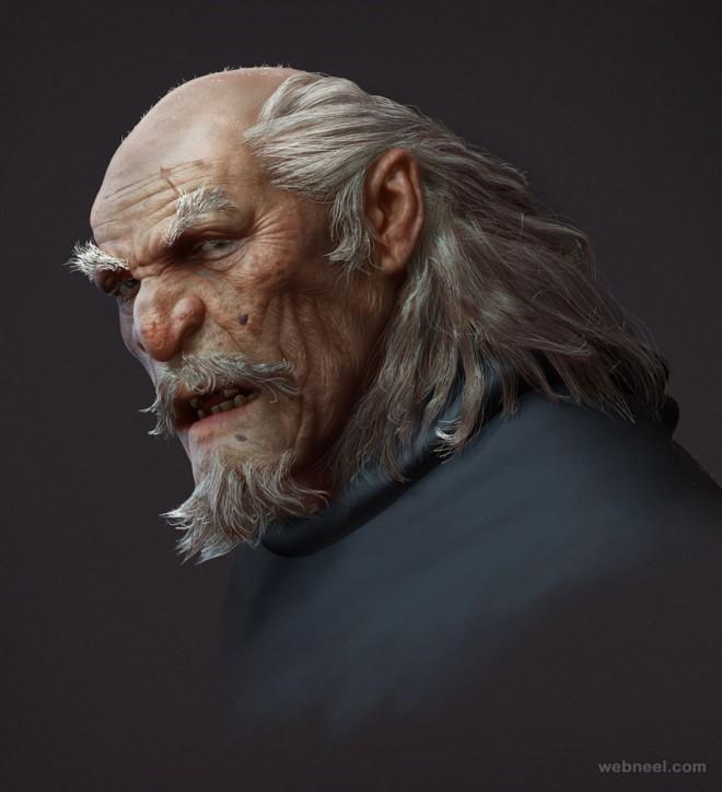 zbrush oldman model by fenghua zhong