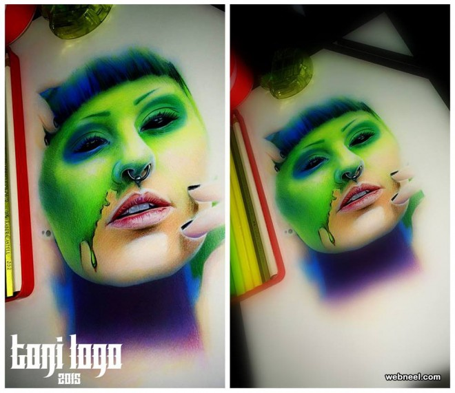 color pencil drawing by tony logo