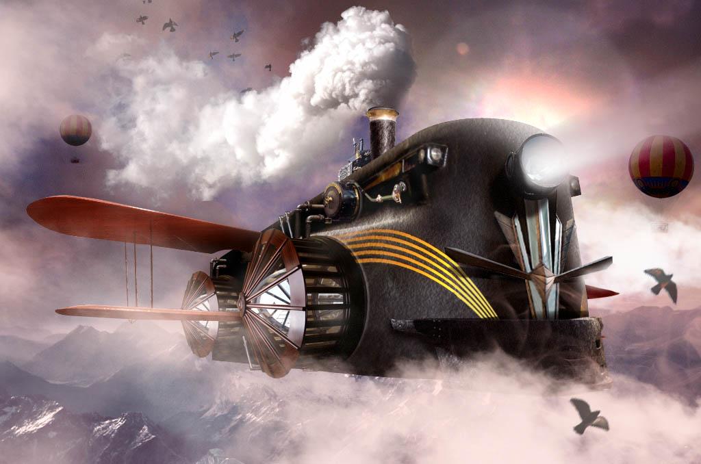 aeroplane steampunk 3d design by blotch1