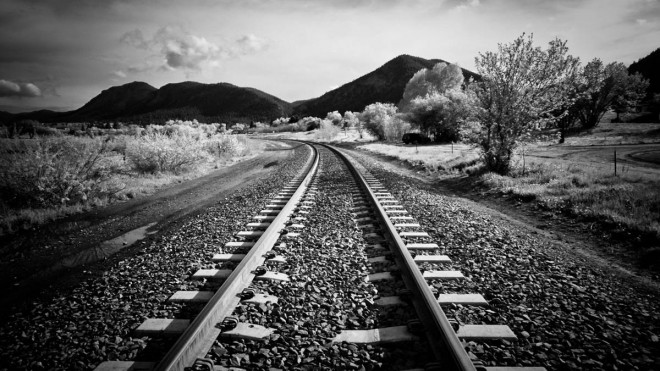 railway tracks black white photography