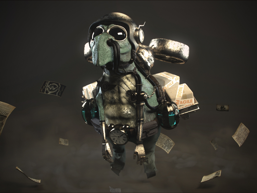 turtle 3d character animation by m3c