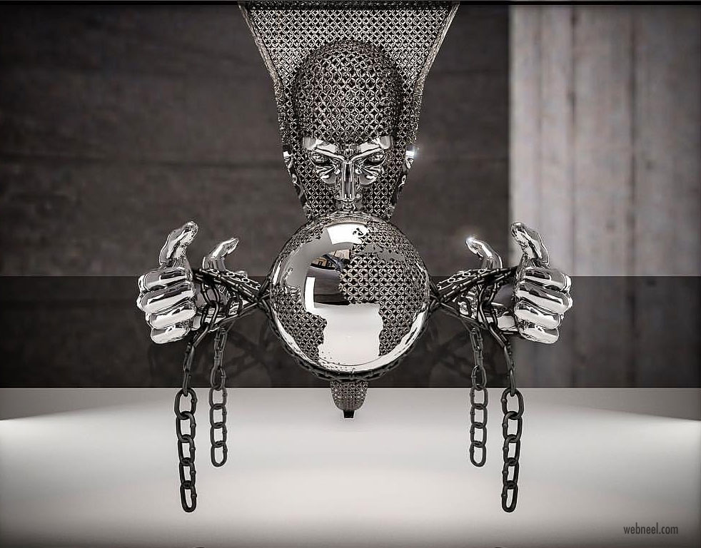 metal sculpture artwork domination by franck kuman