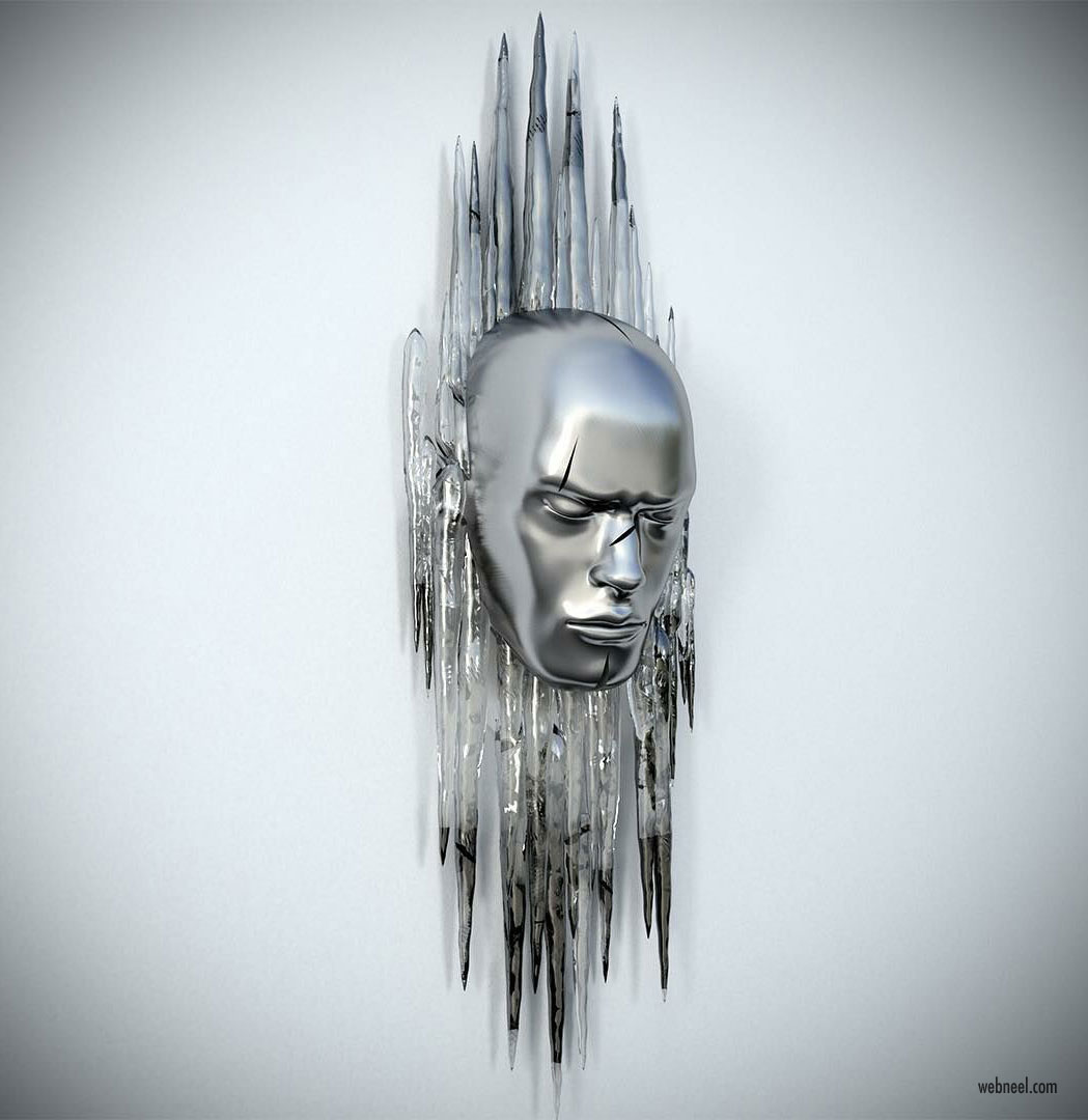metal sculpture artwork face