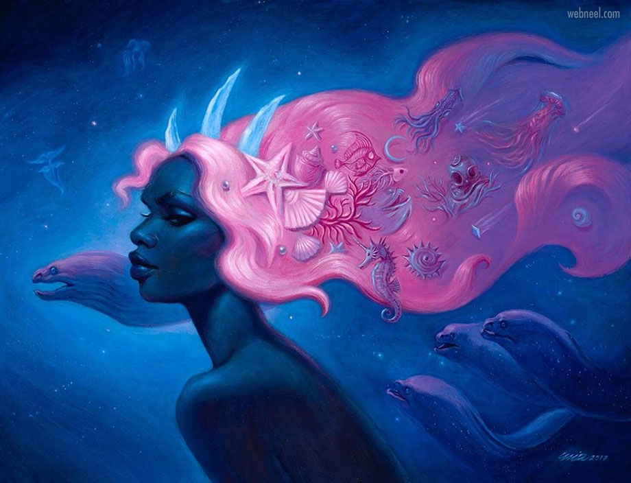 surreal painting artwork cosmic mermaid by miaaraujo
