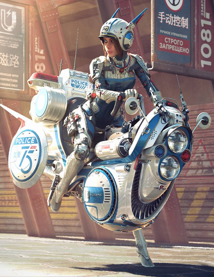 3d concept art model flying bike by michael black