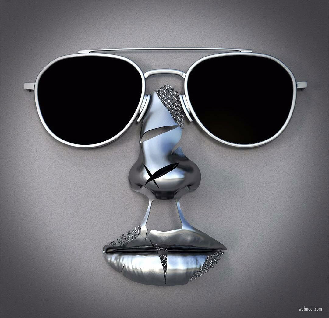 metal sculpture artwork faceglass by franck kuman