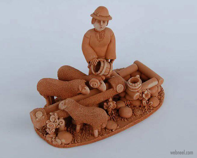 ceramic sculpture artwork shepherd