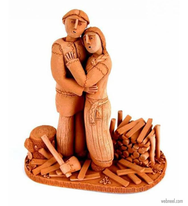 ceramic sculpture artwork couple by illia vaselovych
