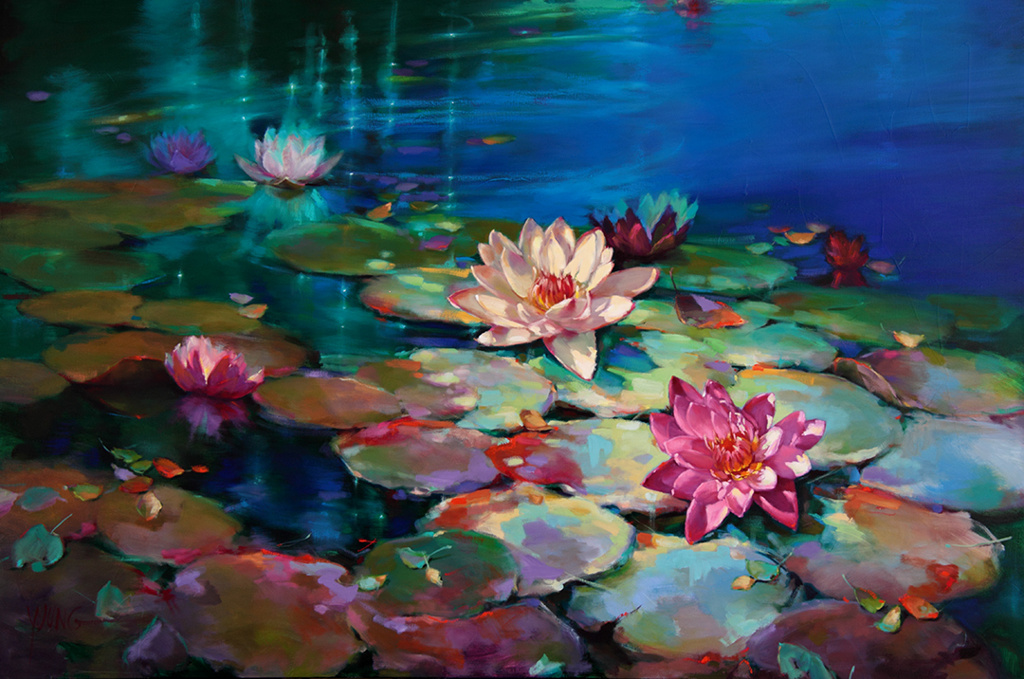 oil painting lotus by donna young