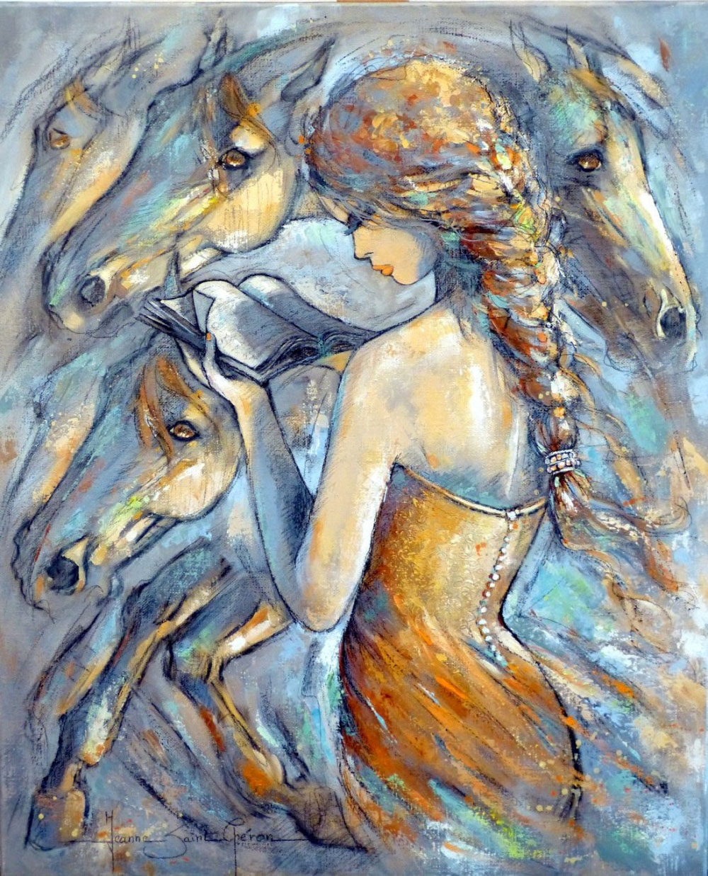 painting artwork woman by jeanne saint cheron