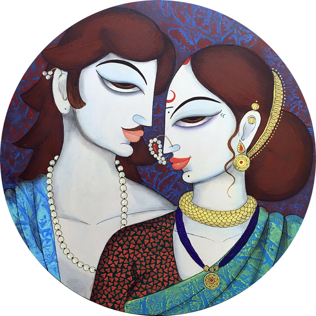indian painting woman couple
