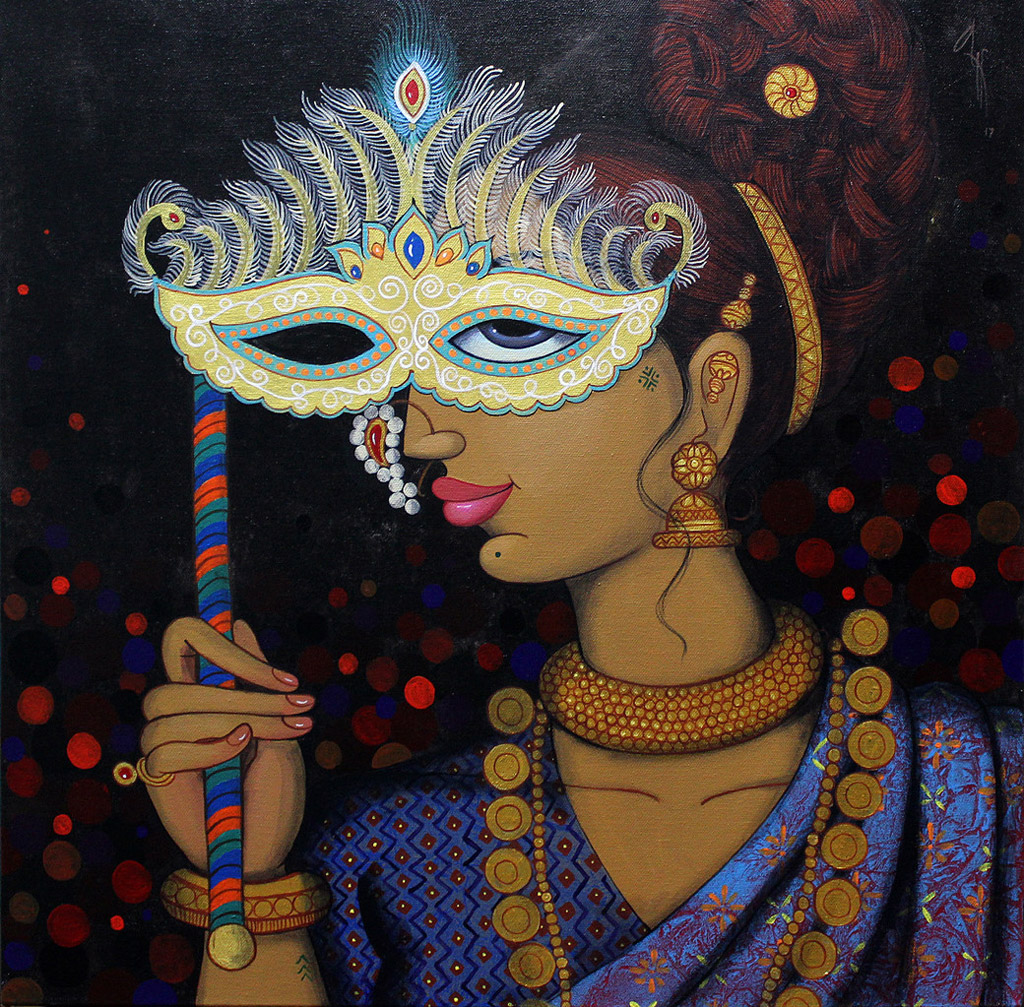 indian painting woman mask