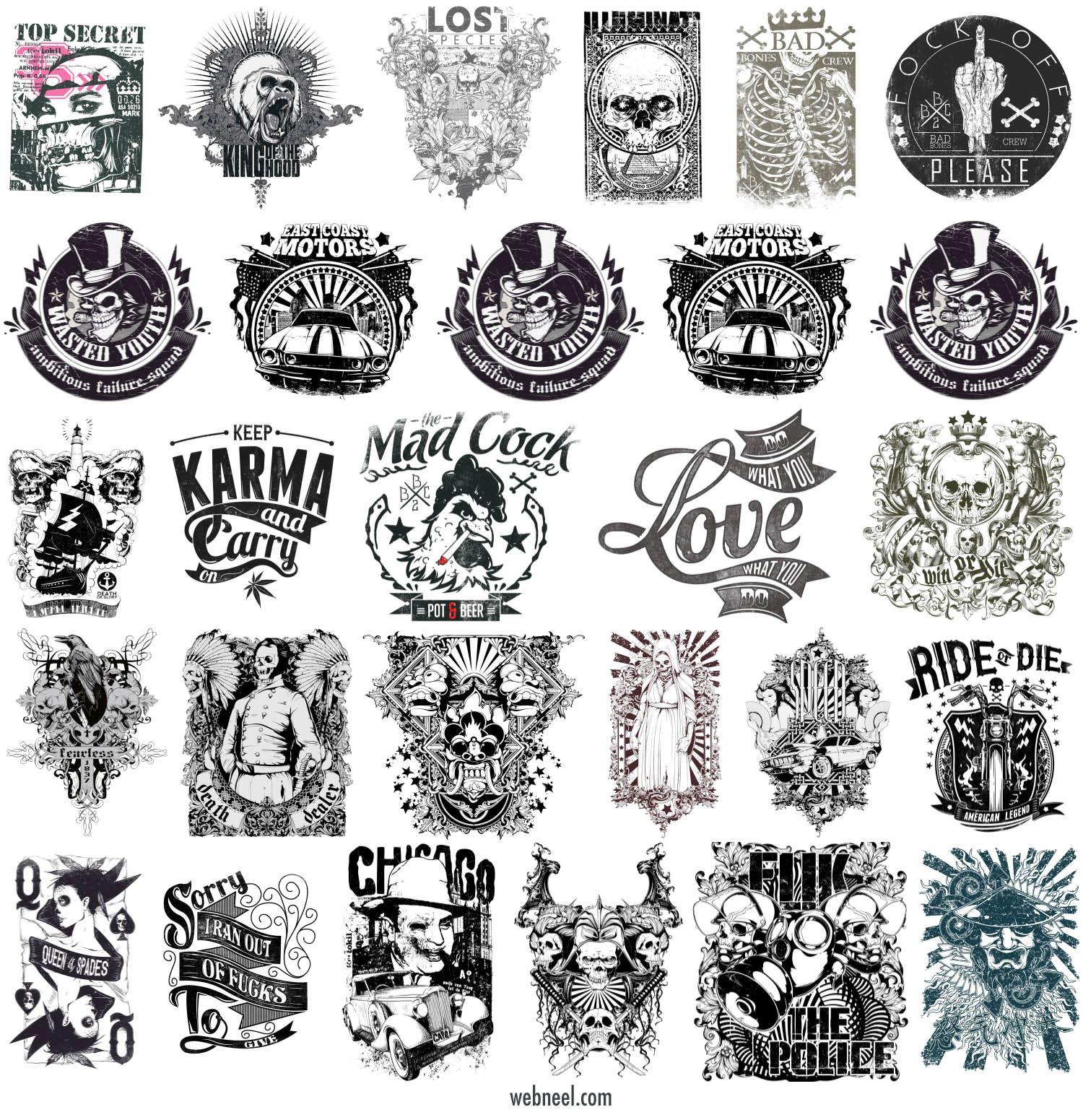 t shirt graphic designs tattoos skulls bones biker by dima yakushin