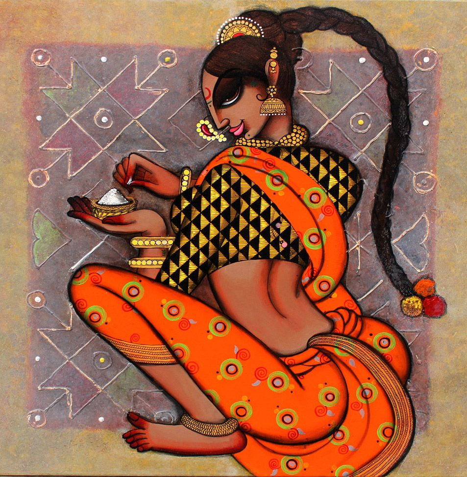 indian painting woman drawing rangoli