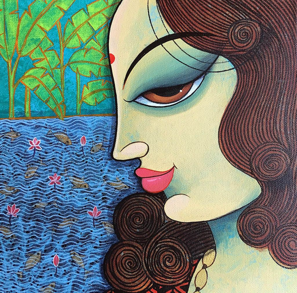 indian painting woman side face