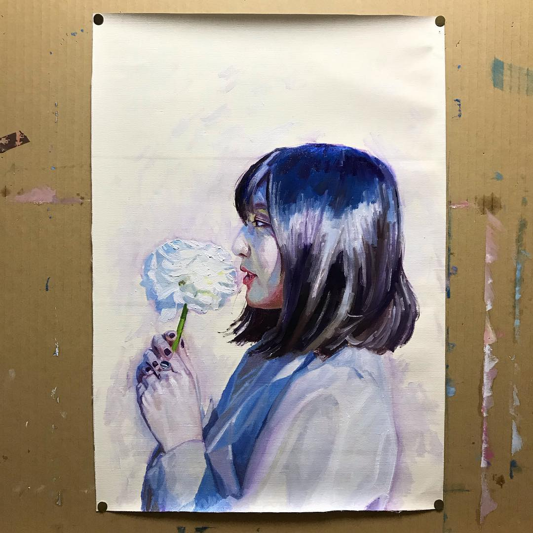 oil painting realistic woman portrait