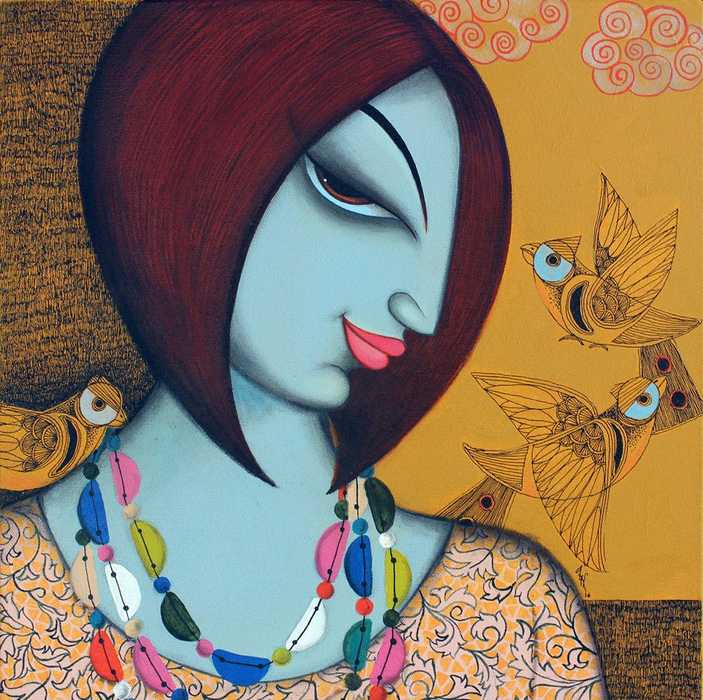 indian painting womanface