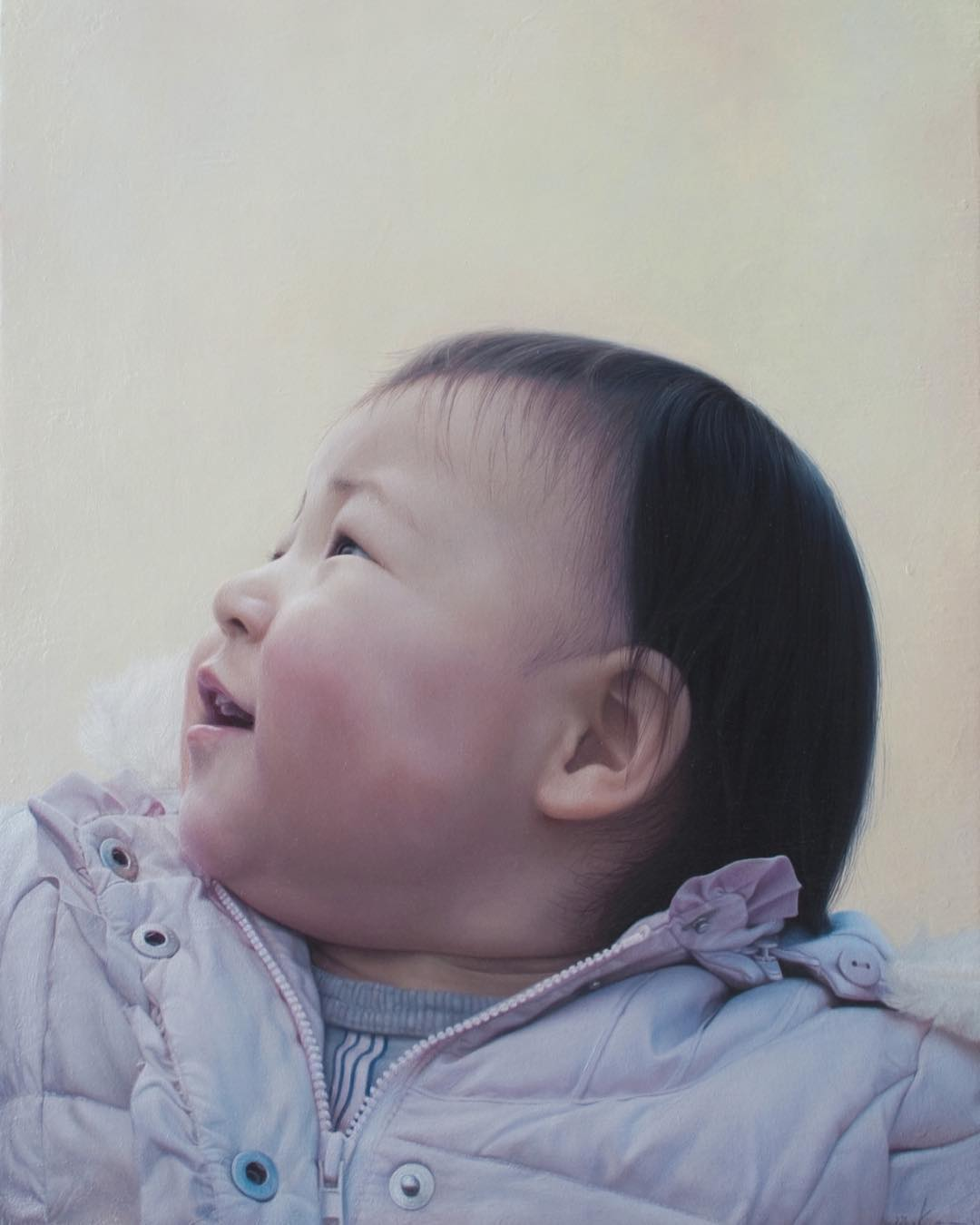 oil painting realistic baby portrait by mienokei