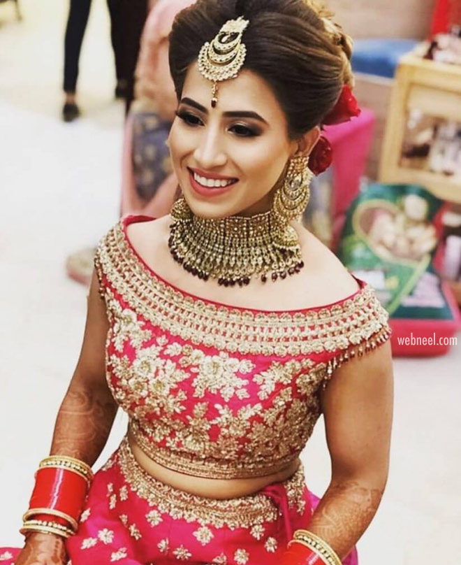 blouse design boat neck golden embroidery for brides