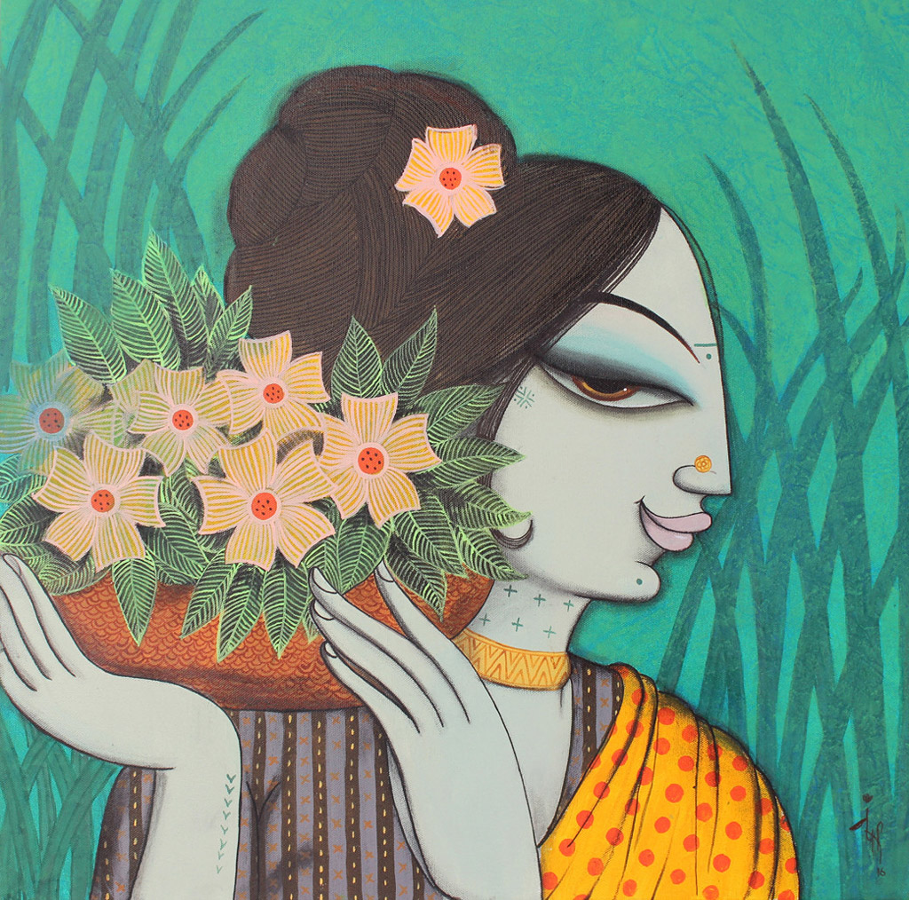 indian painting woman flowers