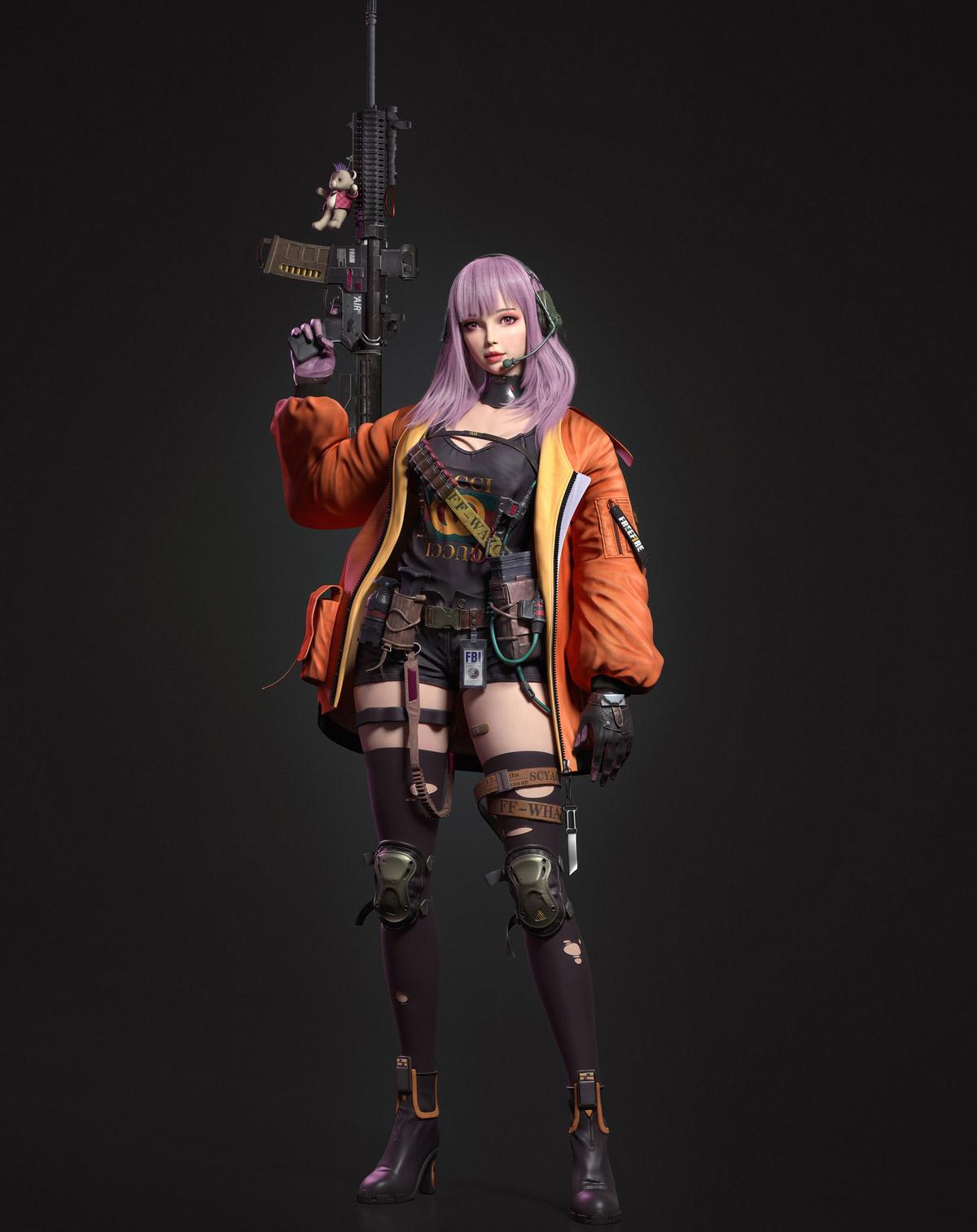 3d model girl fighter gun by ycfcg