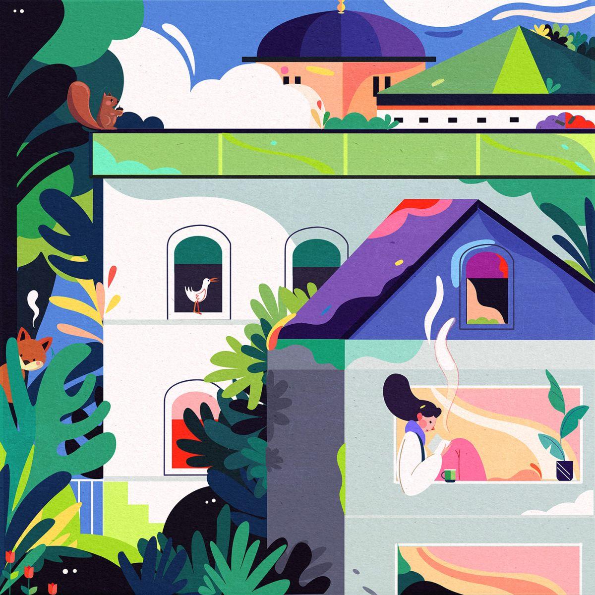 digital illustration corona stay home safe