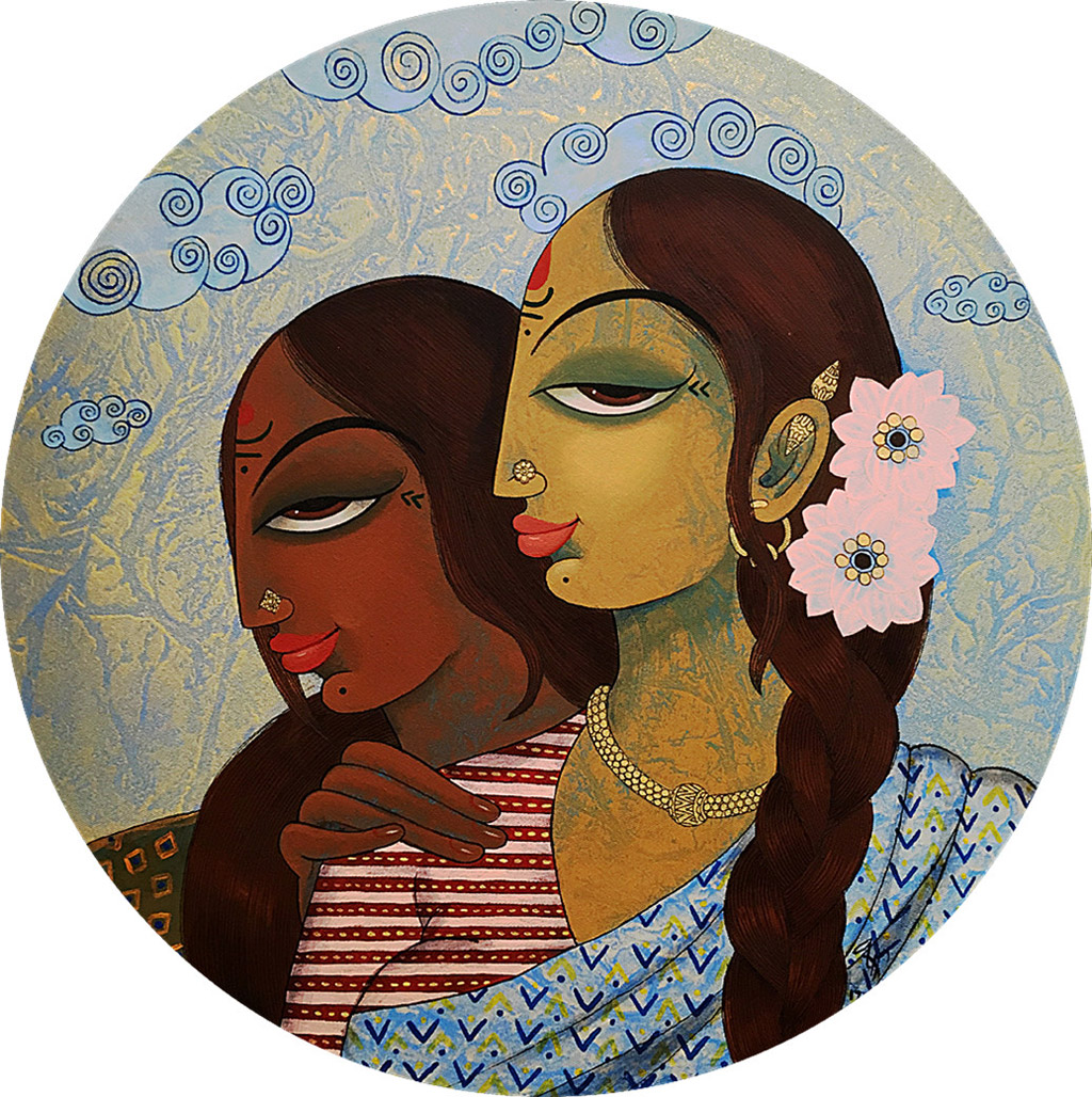 indian painting woman friends