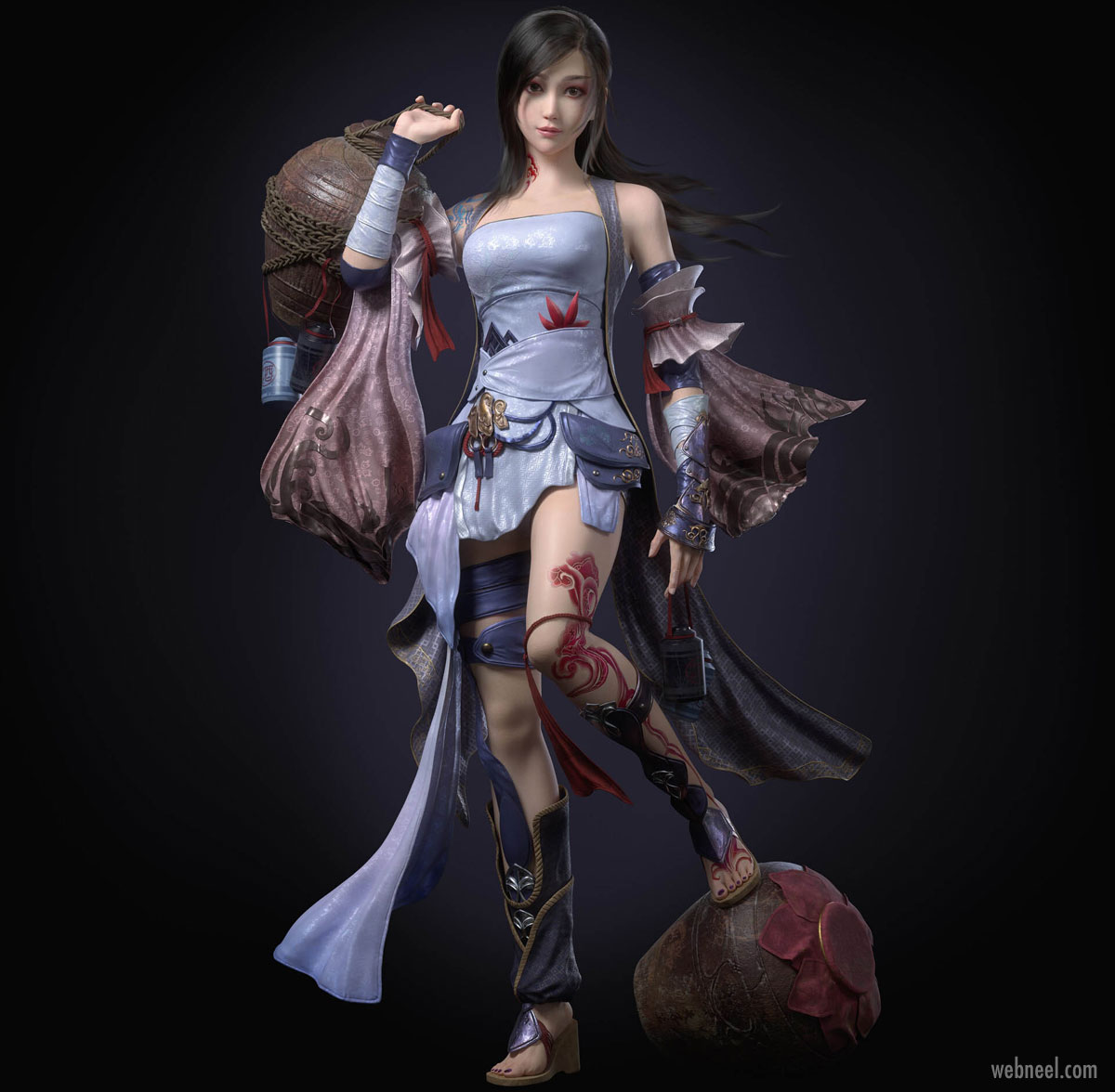 3d model fantasy girl game character fighter by cifangyi