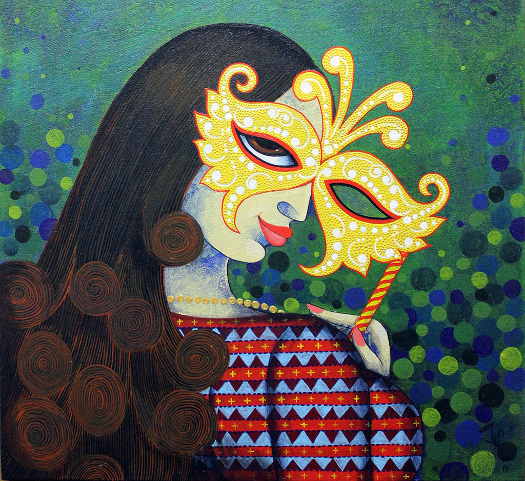 indian painting woman gold mask