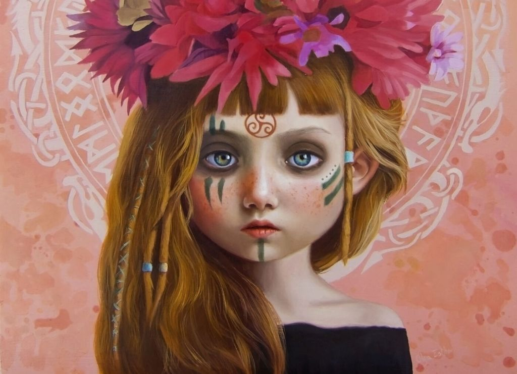 painting girl with flowers by olga esther